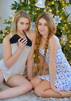 Teenage lesbians getting insane with each other during highly very first Christmas together