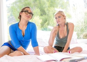 Wild tutor in glasses seduces youthfull ash-blonde with ponytails for beaver gobbling