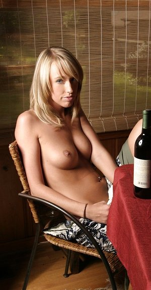 Ash-blonde fledgling Daisy bares puny rock hard jugs while loving a glass of wine