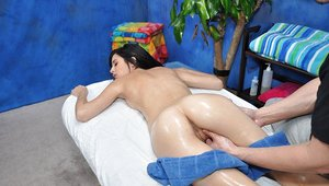 Slender Legal yr old with ebony hair gets greased up before hook-up with massagist