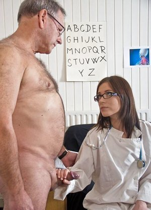 Youthfull female doctor in glasses plumbs an old stud after probing his pecker
