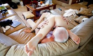 Thin youthfull hoe gives oral pleasure and gets ravaged with oldman man rod