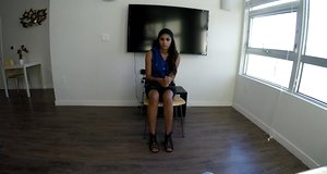Katalina Mills is piping-hot Latina and today she came for interview and hook-up