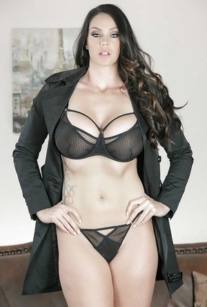 Massive knocker Mummy Alison Tyler takes her decorate & underwear off and poses on the sofa