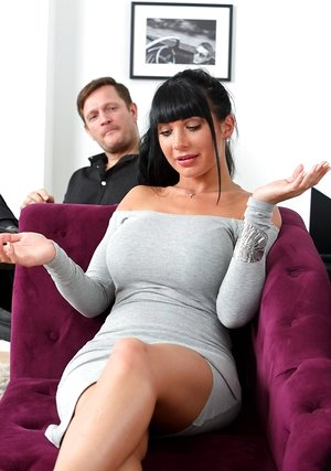 Dark haired lady Valentina Ricci hikes her dress over her butt in taunt mode