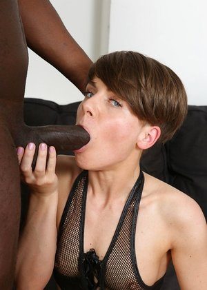 Short haired mature woman Sasha Zima goes booty to throat with a Big black cock