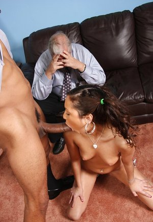 Youthful tramp Jessie Jordan pounds a ebony stud while her daddy sees