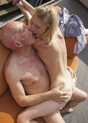 Lean youthfull woman with lil' mounds gets bare outside to blow & tear up oldman hard-on
