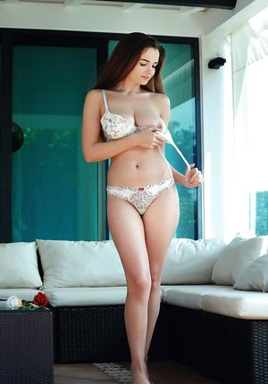 Massive titted Maible sheds her cotton underwear to expose her luxurious clean-shaven slit