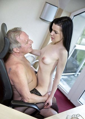Dark haired secretary seduces her truly old boss for a swift job promotion