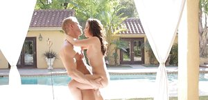 Legitimate year old chick smooches her boyfriend's fat sausage after a poolside drill