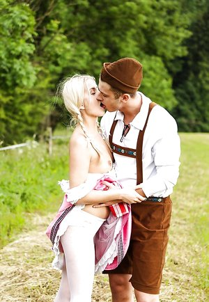 Ash-blonde teenage babe Cayla in a vintage dress takes it deep in a doggystyle