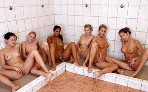 Ladies running crew show love a warm lesbo g-spot tonguing after game shower