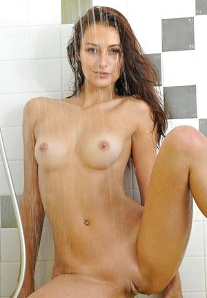 Black-haired solo damsel Yarina A flaunting lil' tits in shower