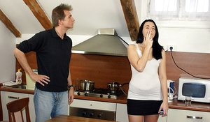 The kitchen help is caught smoking and gets an oldman pounding on the table