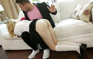 Thin youthful blondie gets slapped before nailing her stepfather