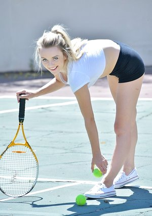 Teenage sweetie can't keep her clothes on while playing sports or from stroking
