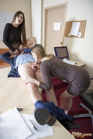 Youthfull secretaries work their way up the ladder by ripping up the boss