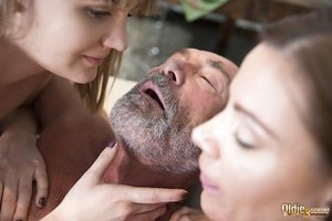 Youthfull white damsels seduce and bang then bang a truly old boy together