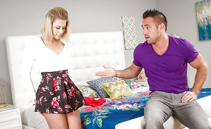 Yummy blondie doll Zoey Monroe lifts skirt for hairless snatch munching