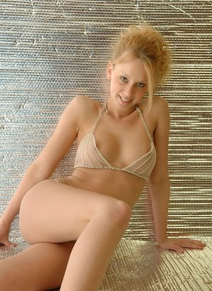 Blessed scorching blond amateur Lucky eliminates brassiere to pose with flawless melons nude