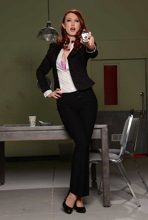 Piping-hot red-haired cop Kendra James doesn't mind to disrobe at the workplace